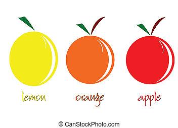 gyümölcs, vektor, ábra