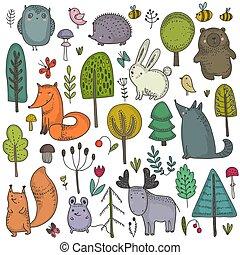 gyűjtés, kéz, vektor, erdő, vad, húzott, animals.
