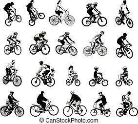 gyűjtés, közül, 20, skicc, biciklisták