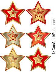 gyűjtés, közül, a, csillaggal díszít, (vector)