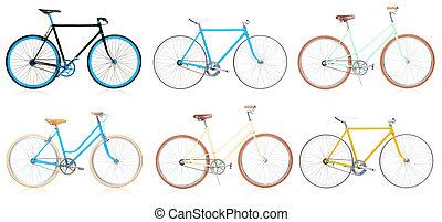 gyűjtés, közül, elegáns, színes, hipsters, bicikli, elszigetelt, white