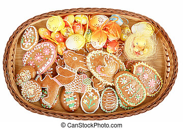gyűjtés, közül, húsvét, gingerbreads, és, festett, ikra