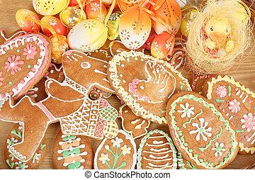 gyűjtés, közül, húsvét, gingerbreads, és, ikra