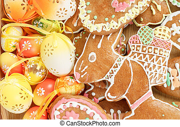 gyűjtés, közül, húsvét, vöröses sárga, kenyér, és, ikra