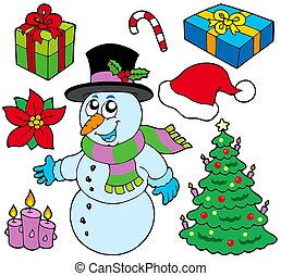 gyűjtés, közül, karácsony, arcmás