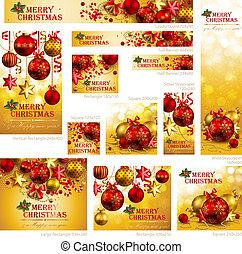 gyűjtés, közül, karácsony, szalagcímek