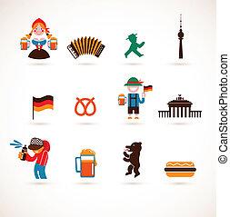 gyűjtés, közül, németország, ikonok