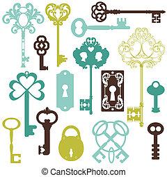 gyűjtés, közül, régimódi kulcs, -, helyett, -e, tervezés, vagy, scrapbook, -, alatt, vektor
