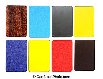 gyűjtés, közül, színes, műanyag, kártya, white, háttér