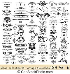 gyűjtés, közül, vektor, calligraphic, alapismeretek, és, oldal, dekoráció, helyett, -e, design.eps