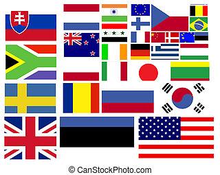 gyűjtés, közül, világ, zászlók
