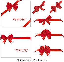 gyűjtés, piros, bows., vector.