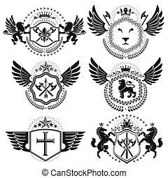 gyűjtés, szüret, címertani, tervezés, fegyver, vektor, bőr, emblems., set.