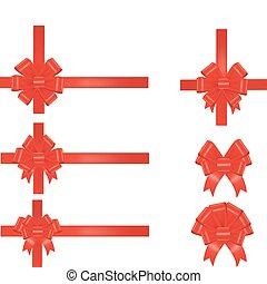 gyűjtés, vektor, piros, bows.