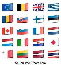 gyűjtés, zászlók, nemzeti, országok