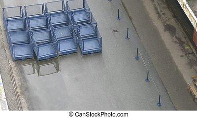 gyűjt, dobozok, puskatöltögetők, üres, poggyász