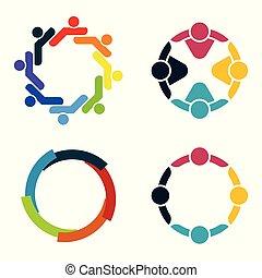 gyűlés, meeting., emberek, circle., room., erős, csapatmunka, forces., csoport, egyesített