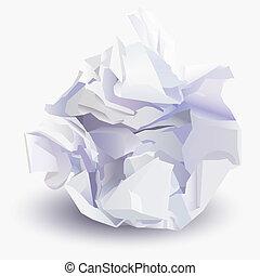gyűrött, vektor, ív, ábra, újság labda
