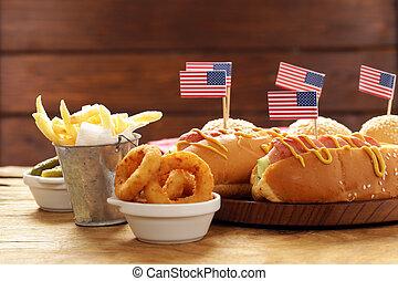 gyűrű, francia, hagyományos, amerika, -, ünneplés, csípős, vöröshagyma, szabadság nap, 4, július, kutya, élelmiszer, daróc