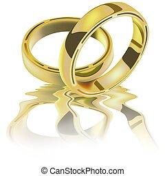 gyűrű, két, esküvő