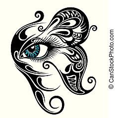 gy211 - Eye make up with butterfly. Tattoo eye