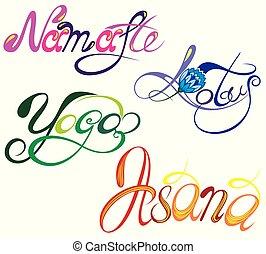 gy296.eps - Yoga. Namaste. Asana. Lotus