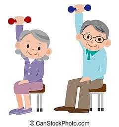 gyakorlás, idősebb ember