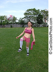 gyakorló, futball, girl.