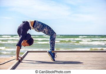 gyakorló, nő, jóga
