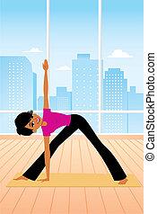 gyakorló, nő, yoga pózolás