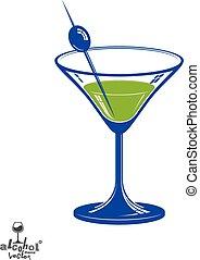 gyakorlatias, 3, martini pohár, noha, olajbogyó, bogyó,...