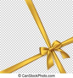 gyakorlatias, arany-, íj, és, ribbon.