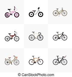 gyakorlatias, helyett, leány, verseny, bicikli, egyensúly, és, más, vektor, elements., állhatatos, közül, bicikli, gyakorlatias, jelkép, is, beleértve, nő, gyerekes, fa-, objects.