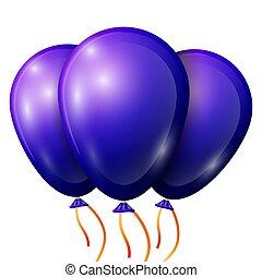 gyakorlatias, kék, léggömb, noha, szalag, elszigetelt, white, háttér., vektor, ábra, közül, fényes, színes, sima, léggömb