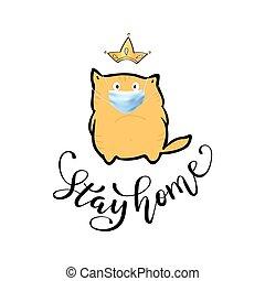 gyakorlatias, megállít, corona., 3, vektor, szlogen, otthon, nyomtat, karikatúra, felirat, macska, maszk, orvosi