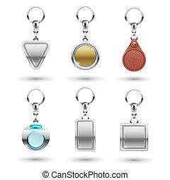 gyakorlatias, vektor, ezüst, arany-, megkorbácsol, keychains, alatt, különböző, alakzat, elszigetelt, képben látható, áttetsző, háttér