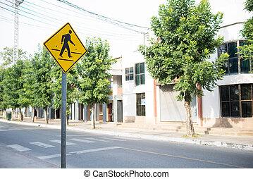 gyalogátkelőhely cégtábla, közül, biztonság