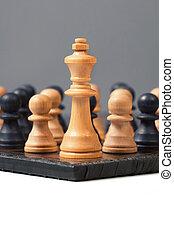 gyalog, király, csoport, ellen, verekszik