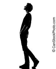 gyalogló, árnykép, feláll, young külső, ember