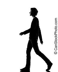 gyalogló, árnykép, fiatal, ember