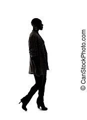 gyalogló, árnykép, háttér, black női, formál, fehér