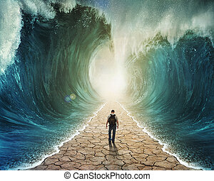 gyalogló, át, a, víz