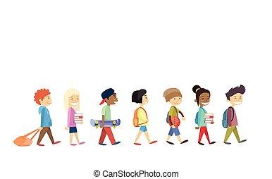 gyalogló, csoport, diákok, izbogis, elszigetelt, jár, gyerekek
