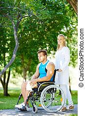 gyalogló, disable, türelmes