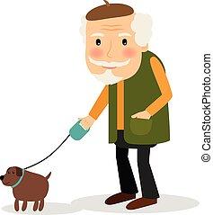 gyalogló, ember, kutya, öreg
