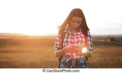 gyalogló, fogalom, telefon, helyes, video, női, leány,...
