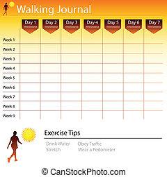 gyalogló, folyóirat, diagram