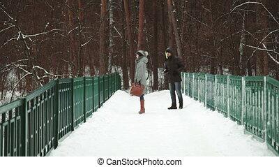 gyalogló, havas, párosít, young felnőtt, nap, erdő