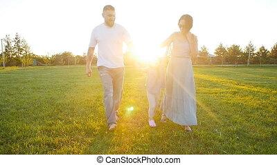 gyalogló, liget, család, boldog