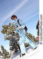 gyalogló, nő, hó